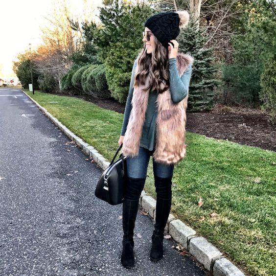 Black beanie | Fur vest & OTK boots