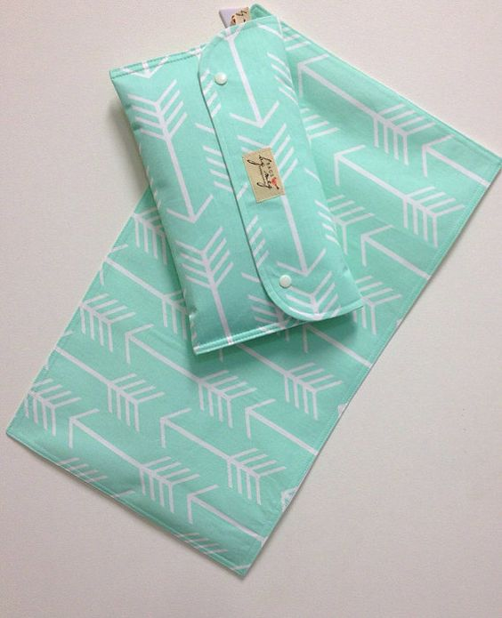 Nappy wallet Diaper clutch and Change mat/pad set White arrows on 'Mint'. Waterproof lining. Fantastic Gift on Etsy, $34.29