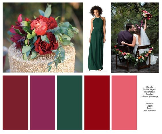 My ideal color palette. Bridesmaids will wear hunter green (dress from WeddingtonWay.com). I want florals in Marsala, Fuchsia/Magenta, Deep Red, and Salmon/Light Orange (similar to far right photo) and soft colored greenery (like on the cake in the far left photo), Eucalyptus is my favorite!