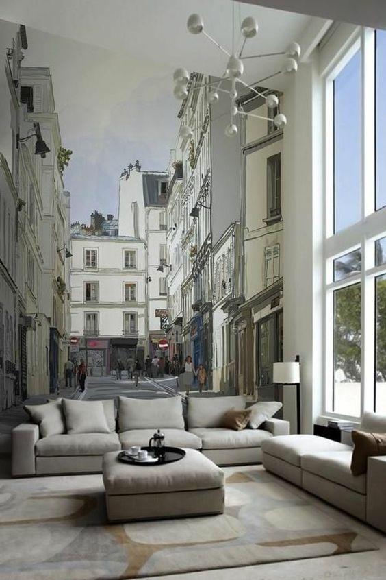 tapisserie trompe l'oeil, poster mural trompe l'oeil, canapé gris, lampe de salon blanche