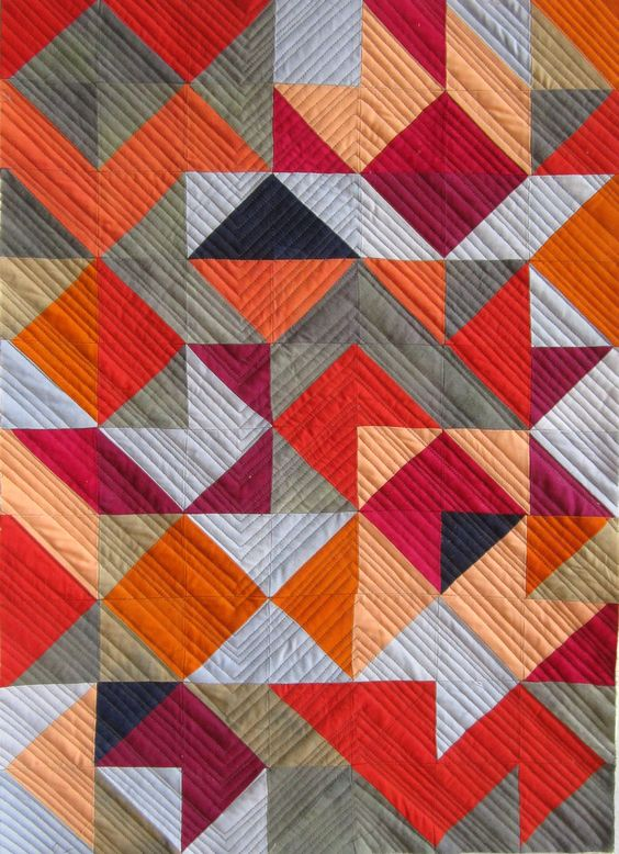 Mary Keasler - Triangle series #12 Like the machine quilting on this - very complimentary for HST