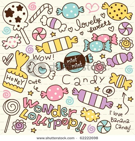 Wall mural cute doodle candy art banana pixersize for Cute little doodles to draw