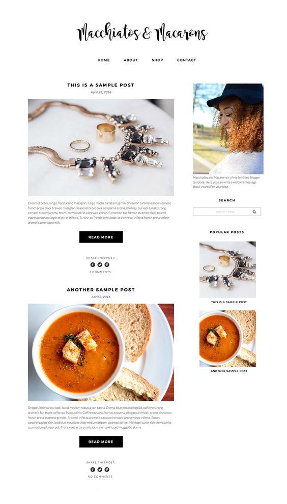 Free Feminine Blogger Template | Macchiatos & Macarons by Pish and Posh Designs