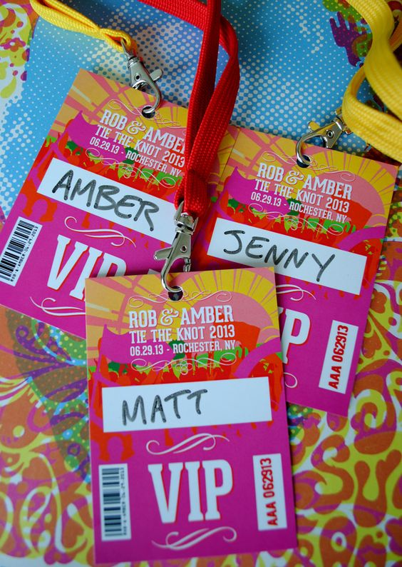 Possibly the best idea I've seen for a wedding theme - festival wedding vip lanyards