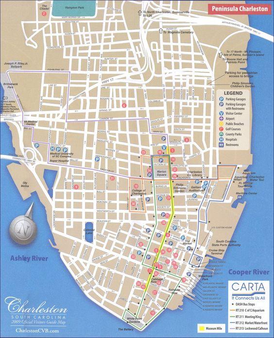 Map of downtown Charleston, SC South Carolina