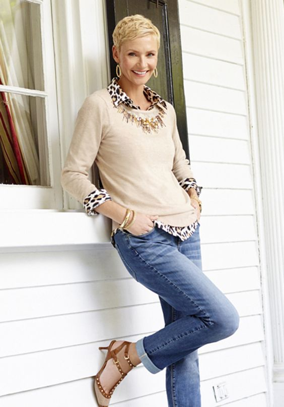 Chico's Embellished Neckline Pearl Pullover paired with the Effortless Leopard Love Lise Shirt.: