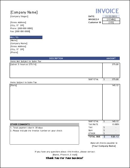 Free Construction Time And Material Forms | Invoice Template For