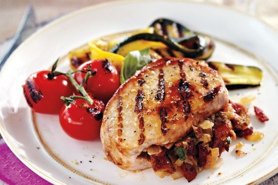 Grilled Bacon-Stuffed Pork Chops - Get a double dose of pork with ...