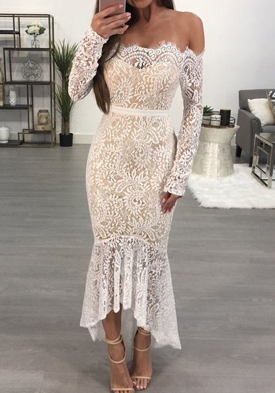 White Patchwork Off Shoulder Ruffle Mermaid Lace Irregular Elegant Banquet Party Midi Dres Off Shoulder Mermaid Dress Mermaid Dress Lace Long Sleeve Lace Dress