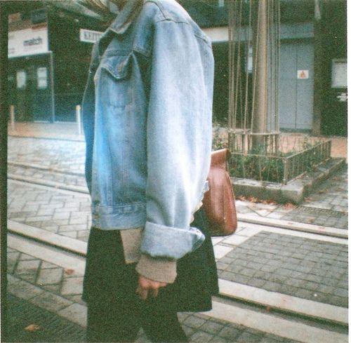 Black Dress(longer) x Beige Sweater x Baggy Denim Jacket(rolled sleeves) x Black Tights