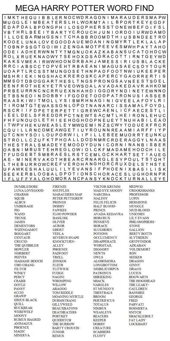 Keep Harry Potter fans of any age quiet for a few hours with this printable word search