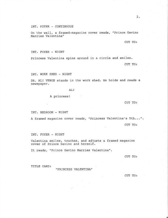 Page 2 of Royal Love Story From The Grave - Sample Screenplay - movie storyboard free sample example format download