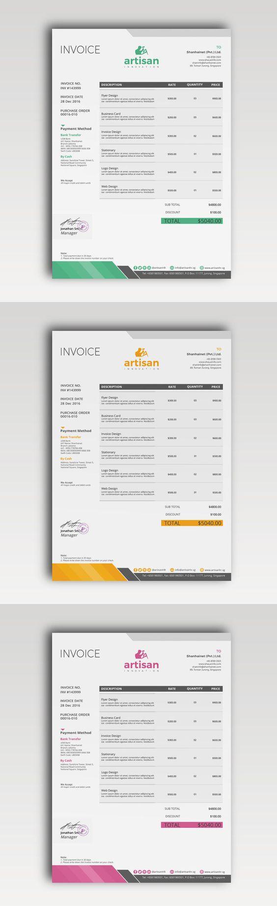 invoice template psd, ai, eps, xlsx, docx & doc | proposal, Invoice templates