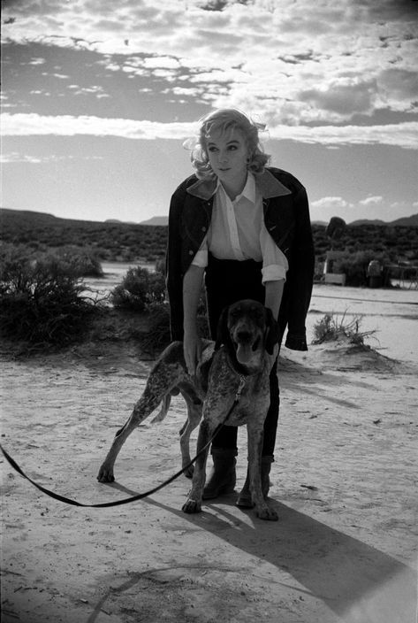 0 Marilyn Monroe with a dog on leash on the set of the Misfits