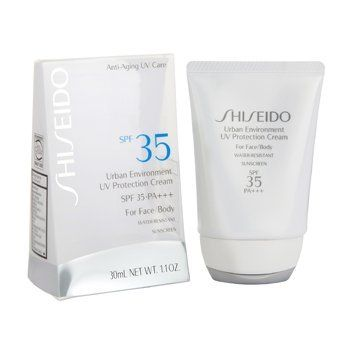 Shiseido Travel Size Urban Environment UV Protection Cream SPF 35 --30ml / 1.1oz by Shiseido. Save 7 Off!. $28.00. A feather-light daily sunscreen that provides exceptional hydration while protecting against external aggressors such as UV rays, dryness and air pollution for beautiful, healthy-looking skin.  ?Exceptionally powerful formula effectively protects skin from harmful UVA/UVB rays that cause photo-aging. ?Hydro-Restoring Complex contains moisturizing amino acids that natural...
