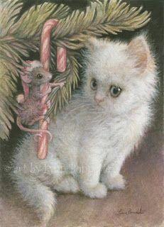 "Art by Lynn Bonnette: ""Candy Cane Mouse & Kitten"""