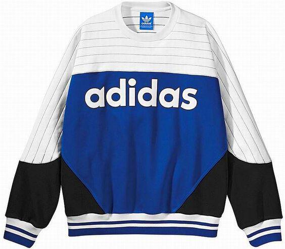 ADIDAS JAPAN NIGO COLOR BLOCKED CREW NECK SWEATSHIRT Blue-White new limited #adidas #SweatshirtCrew