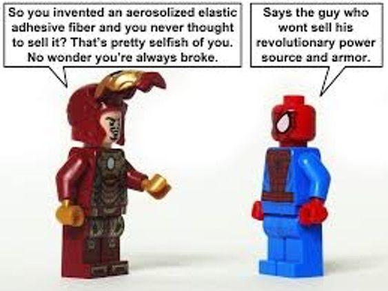 Ironman & Spideman Lego meme