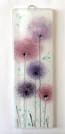 Purple and pink flowers fused glass wall art panel