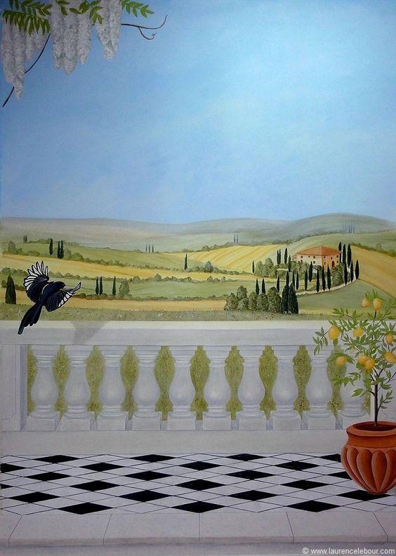 toscane peinture acrylique sur toile maroufl e sur mur trompe l 39 oeil pinterest toile. Black Bedroom Furniture Sets. Home Design Ideas