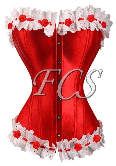 a3004 Lace Frills Red Overbust Corset