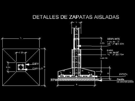 Zapatas descarga gratis de planos archivos y bloques for Planos de construccion
