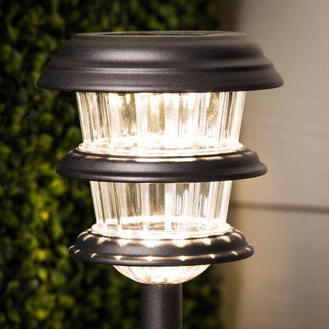 Portfolio 4 Pack 8x Brighter 9 6 Lumen Black Solar Integrated Led Path Light At Lowes Com Path Lights Led Path Lights Steel Lighting