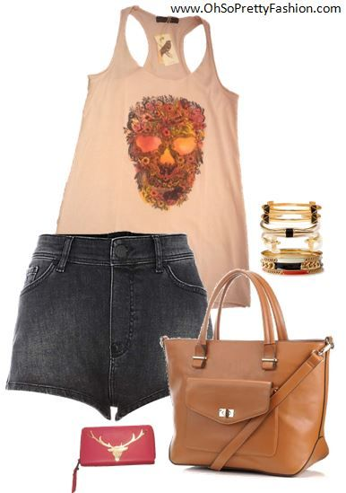 Top available on www.ohsoprettyfashion.com  Wallet available at Oh So Pretty! Boutique  bracelets Forever 21. Bag Accessorize. Shorts Rihanna for River Island.