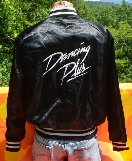 vintage 80s satin baseball jacket shiny dirty DANCING plus black ...