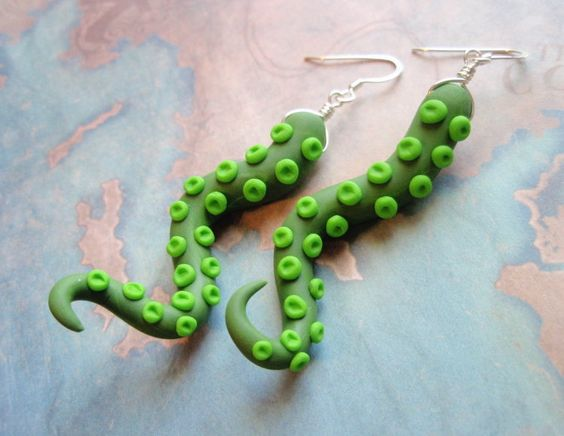 Cthulhu Green Polymer Clay Curly Tentacle Earrings. $14.00, via Etsy