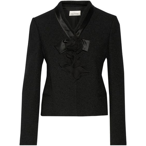 Valentino Appliquéd wool-blend bouclé jacket featuring polyvore, fashion, clothing, outerwear, jackets, black, black jacket, wool blend jacket, flower print jacket, floral print jacket and floral jacket