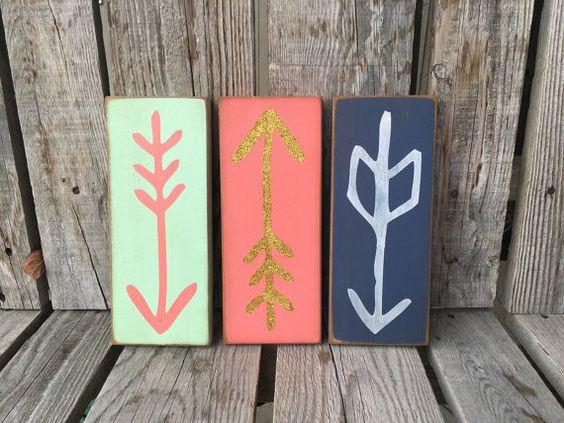 READY TO SHIP Arrow wood sign personalized hand by jodyaleavitt
