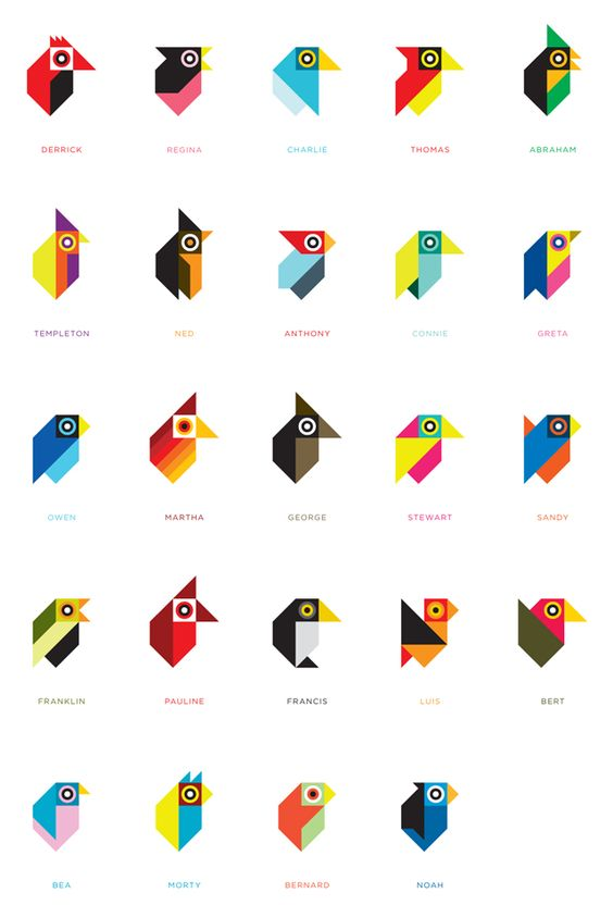 Geometric birds. Make it a design challenge with geometric shapes - limit the type and the number of repeats :)
