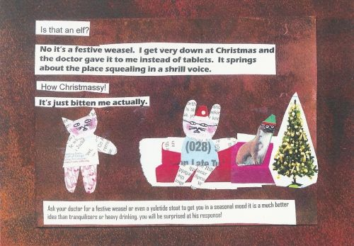Mr Papers Cards by Sue Cathcart. Made entirely from Belfast Telegraph pages. Festive Weasel!