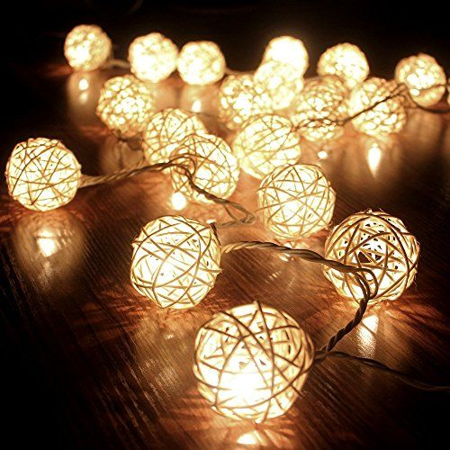 cmyk guirlande boule rotin blanc 20 boules guirlande lumineuse int rieure 220v id al pour. Black Bedroom Furniture Sets. Home Design Ideas