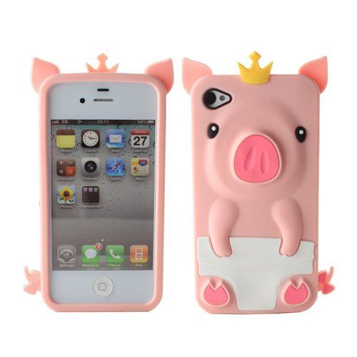 cute iphone 4s cases 3d pink pig animal silicone soft rubber cover 1782