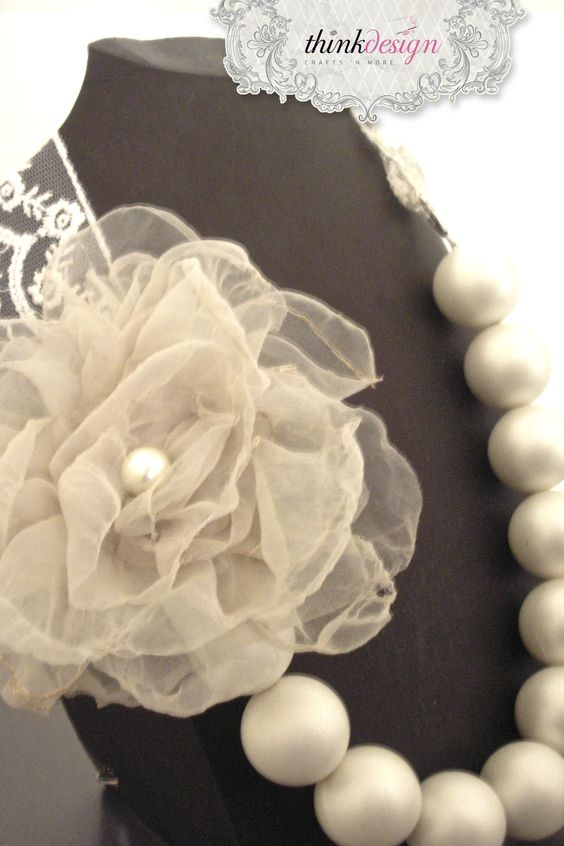 Long pearl necklace with lace, decorated with rose pin. Interested in buying?  Please contact @ my_thequill@yahoo.gr
