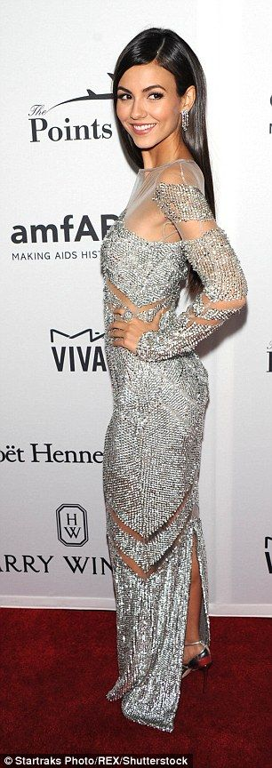 The 23-year-old former Zoey actress stunned in the long-sleeved sequin encrusted number...