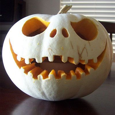 Jack The Pumpkin King from The Nightmare Before Christmas carved into a pumpkin: