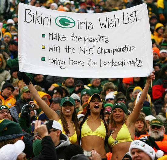 Green bay packer fans in bikini