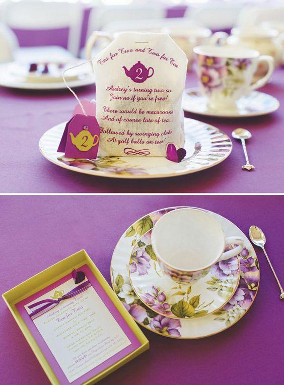 screenprinted tea bag birthday party invitation by ShiftingStatusKuo.com: