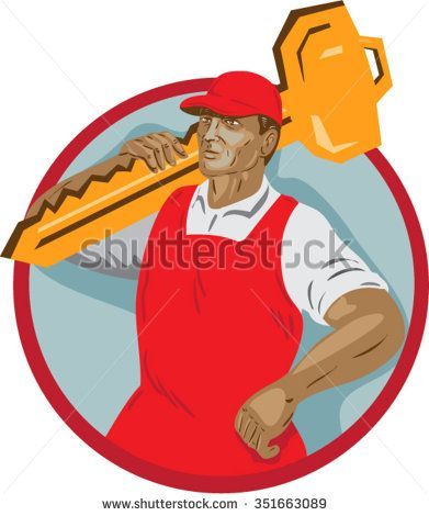 WPA style illustration of a locksmith carrying key on shoulder looking to the side set inside circle on isolated background.  - stock vector #locksmith #wpa #illustration