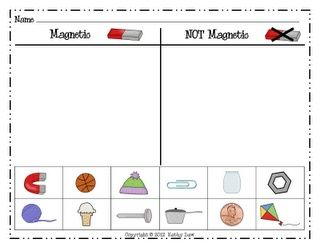 First Grade a la Carte: printable Magnet experiment worksheet ...