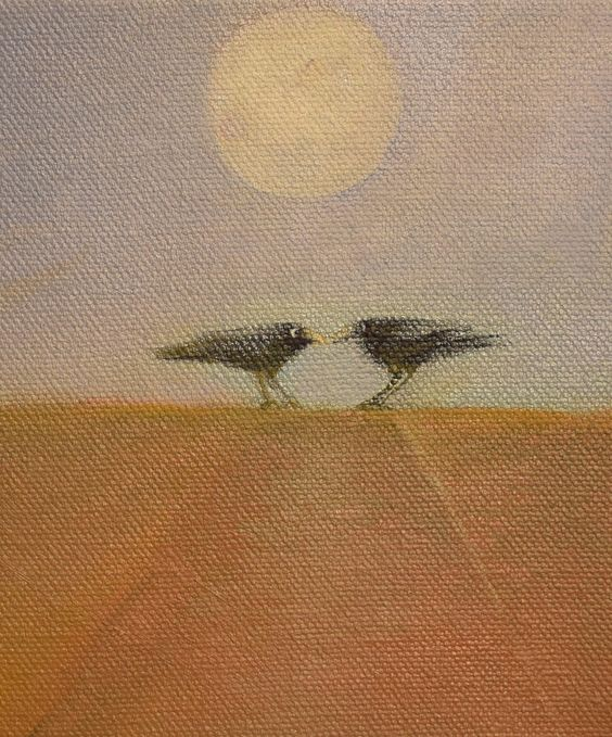 Ravens, Crows, Blackbirds and Full Moon, Meeting Place Series by PamiC on Etsy