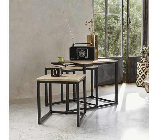 Table Basse Gigogne Neva Industrielle Chene Noir Table Basse But