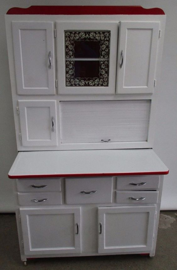 ANTIQUE MARSH HOOSIER CABINET BAKERS CABINET WITH SIFTER WHITE ...