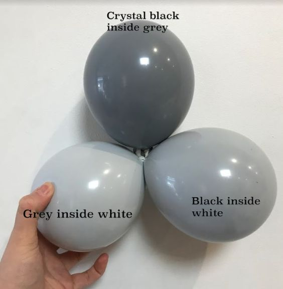 Colour combinations of grey balloons