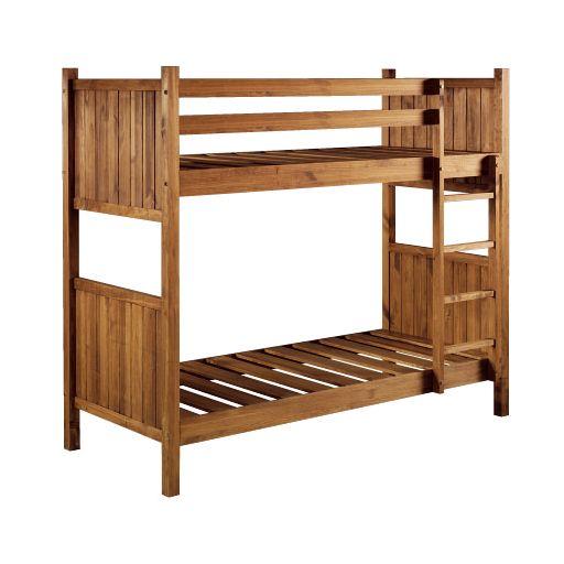 Litera de madera maciza con escaleras y barandillas en conjunto ...