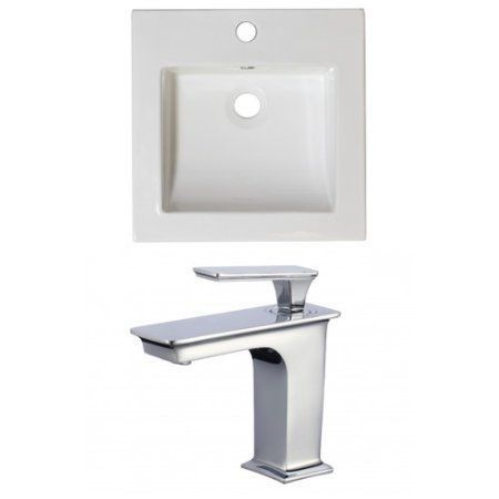 21.5-in. W x 18-in. D Ceramic Top Set In White Color With Single Hole Cupc Faucet