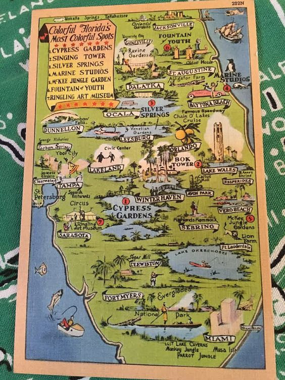 Why, it's the map key upper right, Vintage Florida! Postcard map of tourist by 3floridagirls on Etsy